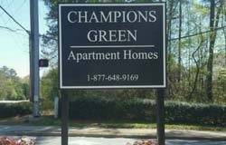 Post sign for Champions Green Apartment Homes