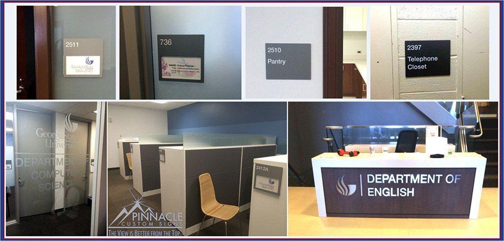 Custom room signs and lobby signs for Georgia State University in Atlanta, GA