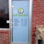 Window door graphic for Gulf Coast Grill
