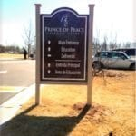 wayfinding sign for Prince of Peace Catholic Church