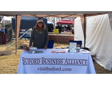 Custom table cover for the Buford Business Alliance