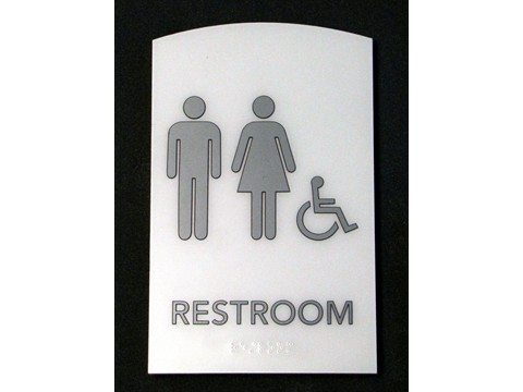 restroom signs with pictograms, raised lettering and braille