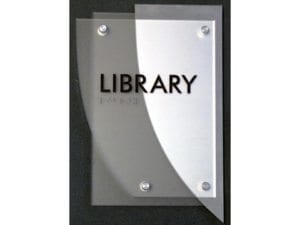 Room sign with standoffs and braille