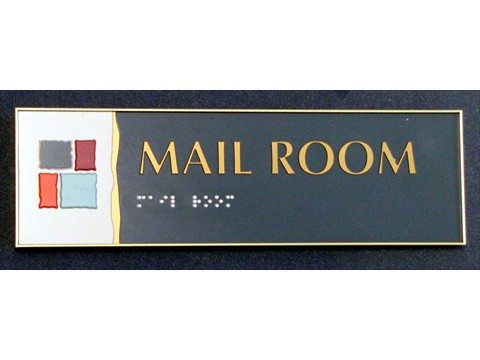 Mail Room sign with braille and company branding