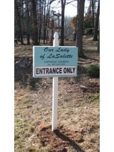 our_lady_of_lasalette_single_post_sign