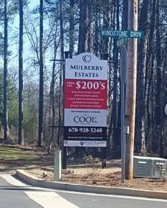 Mulberry Estates New Subdivision signs