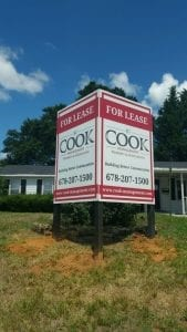 An example of a for lease commercial sign for a building developer