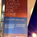 Using window graphics to advertise office & retail space for lease in downtown Atlanta.