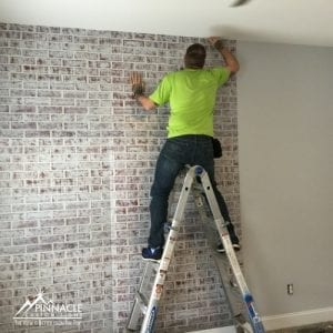 Fake brick wall using vinyl wall graphics