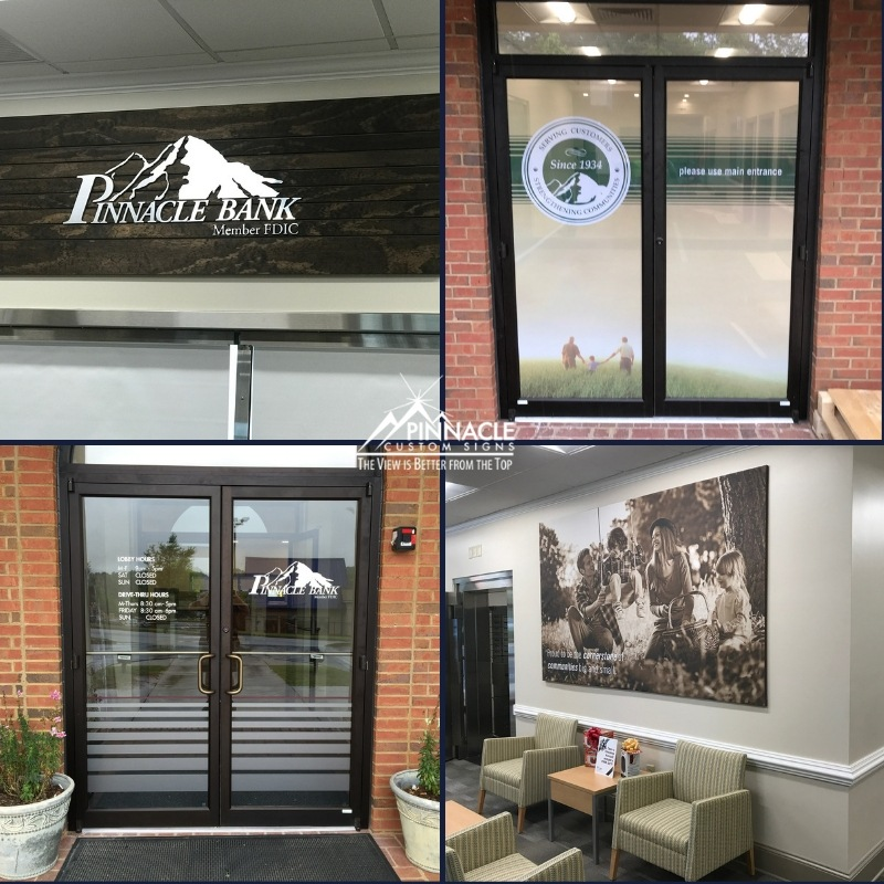 custom logo sign, door window graphics, and wall graphics for Pinnacle Bank