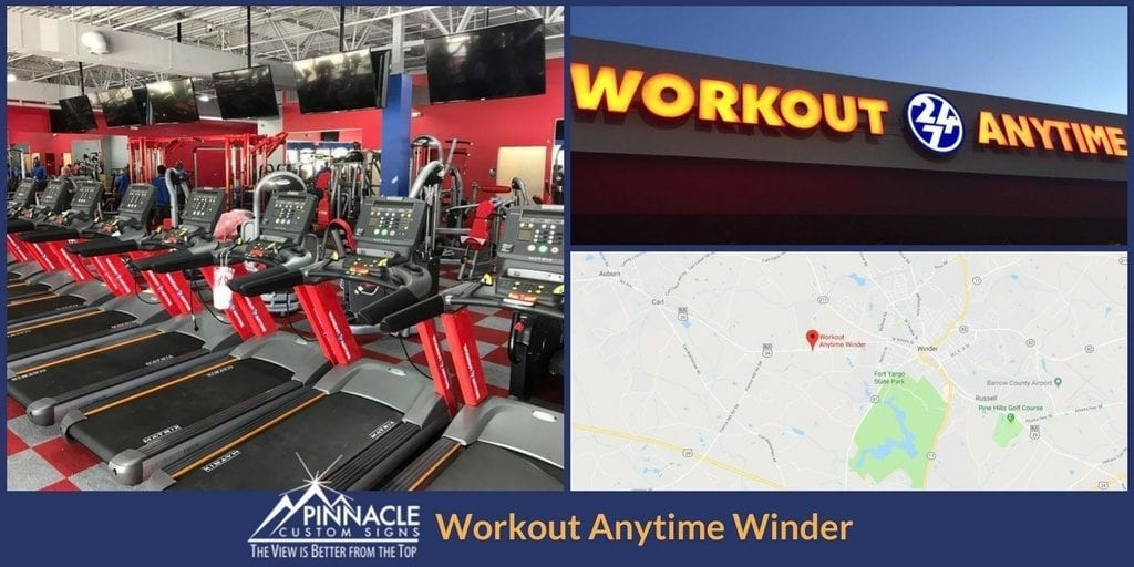 Pinnacle Custom Signs installed new signage at Workout Anytime's new location in Winder, GA