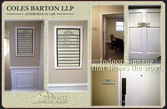 indoor signage that direction people where to go at Colten Barton LLP
