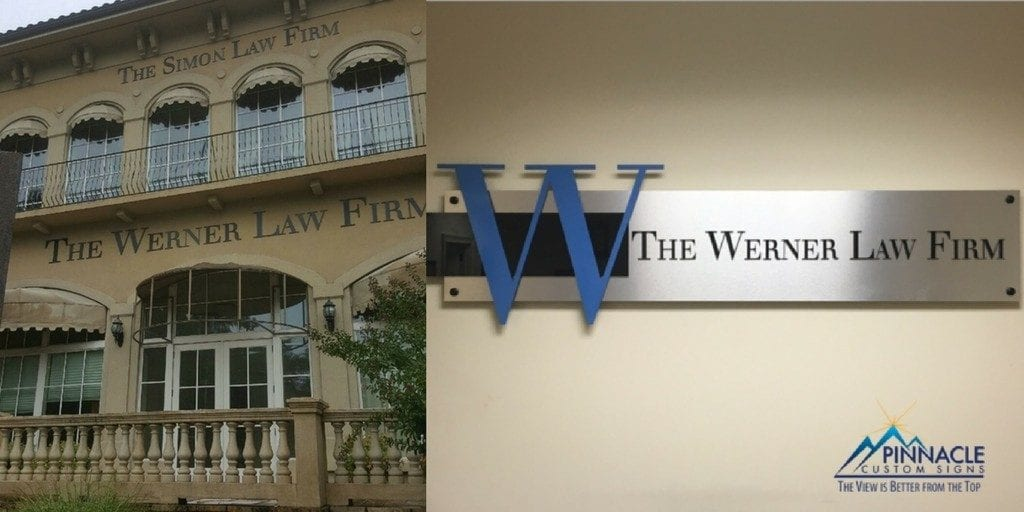 custom building signs for Werner Law Firm - exterior wall graphics