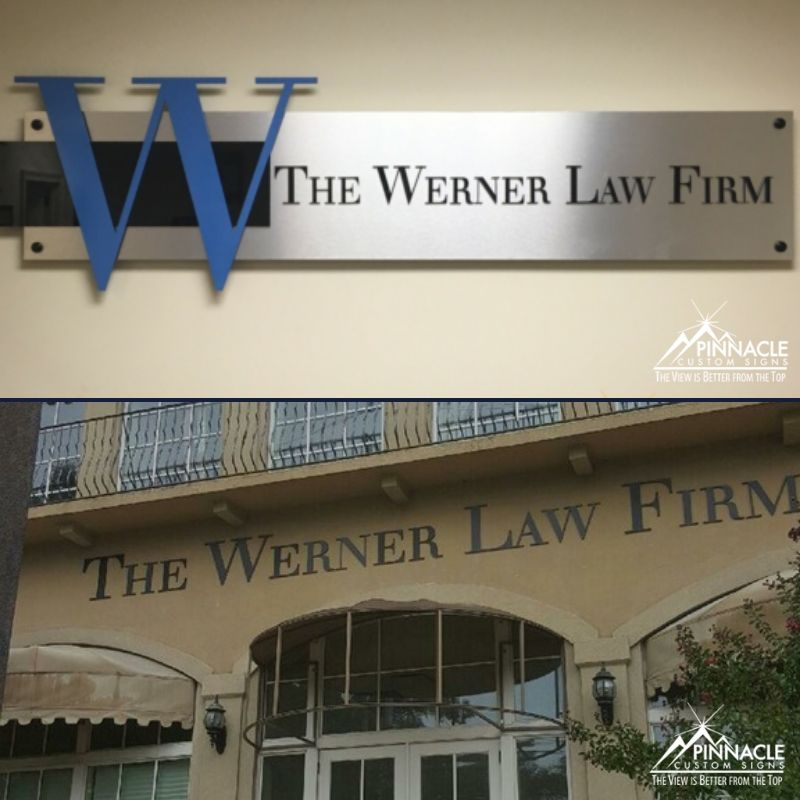Office sign and building sign for The Werner Law Firm