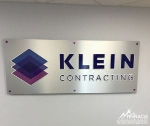 Lobby sign for Klein Contracting