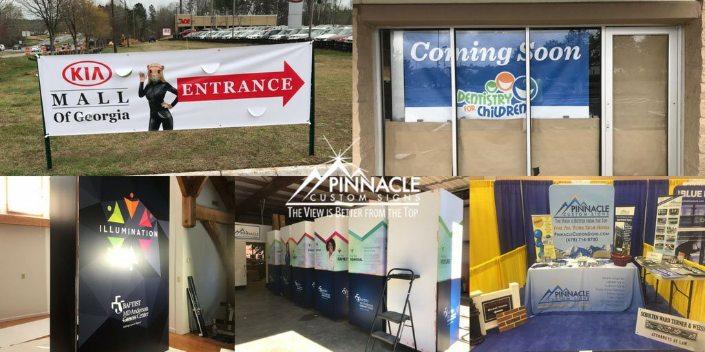 Examples of banners and tradeshow displays created by Pinnacle.