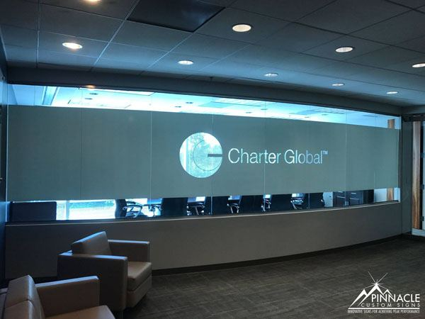 Charter Global wanted to display their logo and give the conference room some privacy. Bonus - the glass on the other side can be used as a whiteboard without showing through.