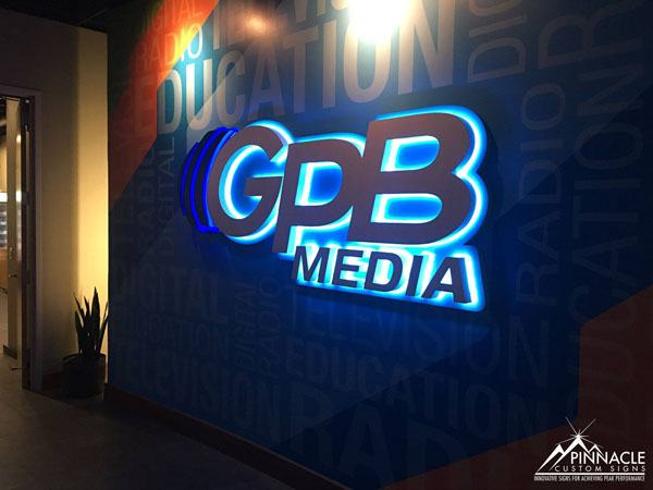 GPB Media lighted logo sign