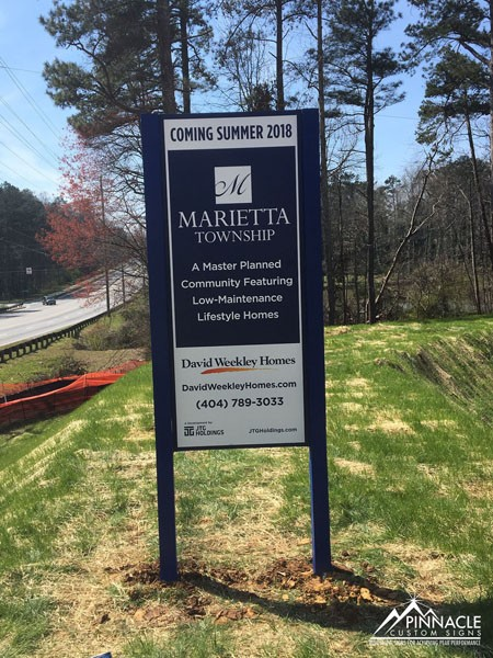 Marietta Township post and panel sign