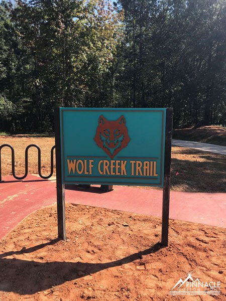 Wolf Creek Trail post and panel sign