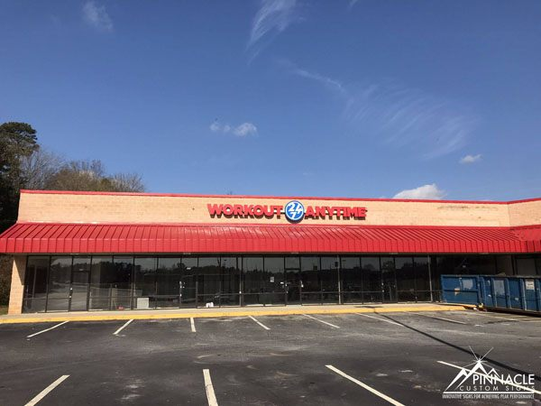 Workout Anytime's building sign uses channel letters.