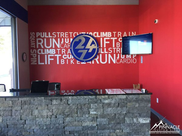 Workout Anytime logo sign with word art wall graphic