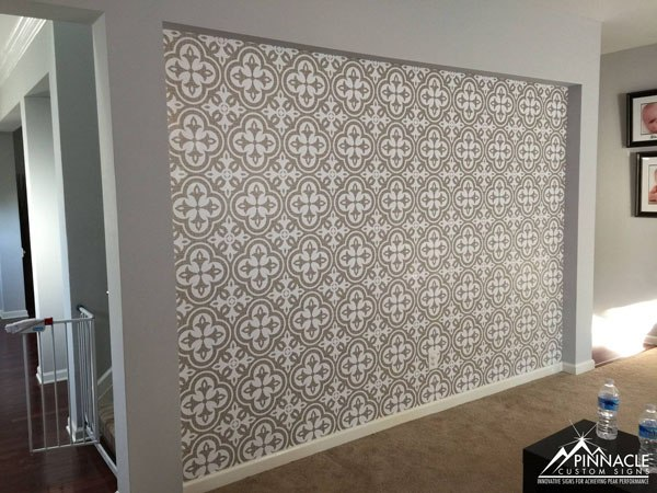 Decorative pattern on a wall using vinyl graphics