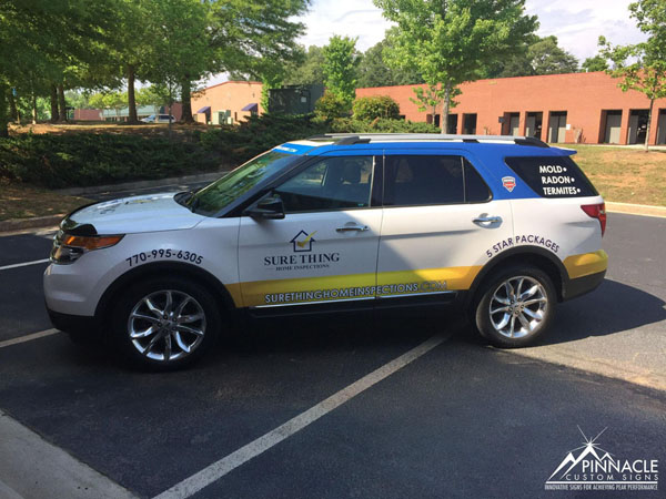 Sure thing home inspection car wrap