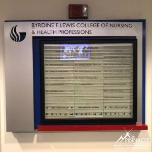 A directory sign for Georgia State University College of Nursing and Health Professionals