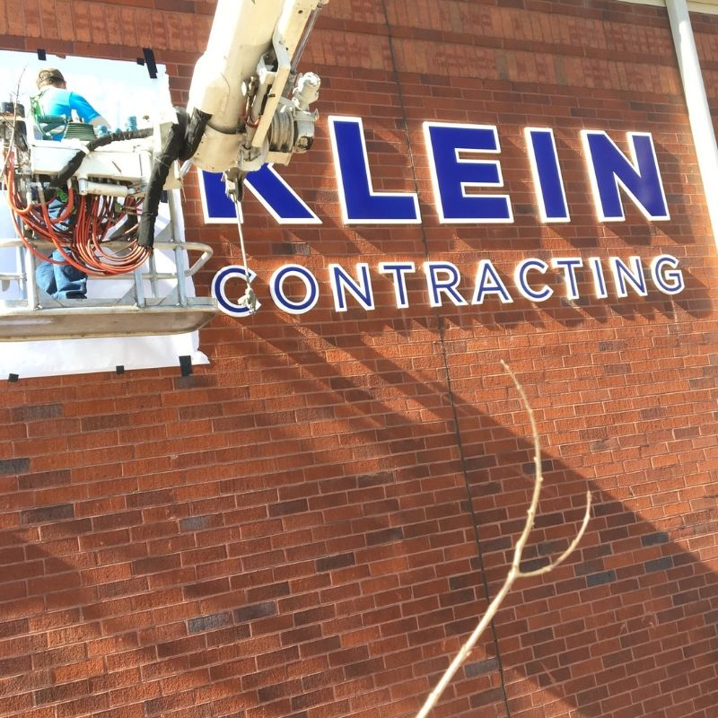 building sign installation
