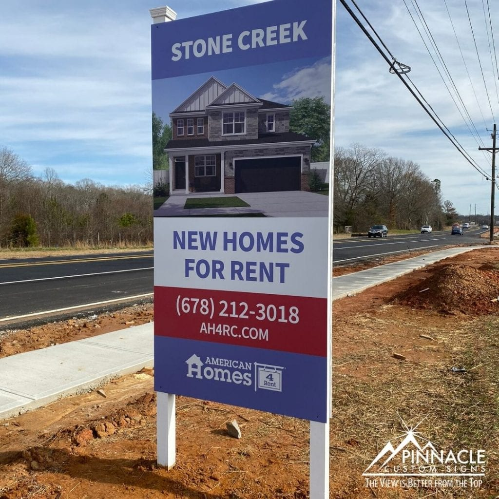 Custom commercial real estate signs for stone creek