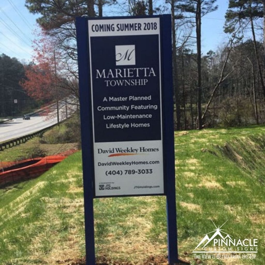 Post and panel signs for commercial real estate